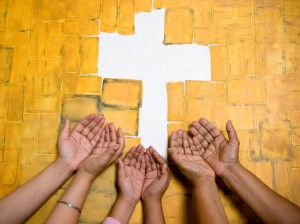 Praying hands, reaching God
